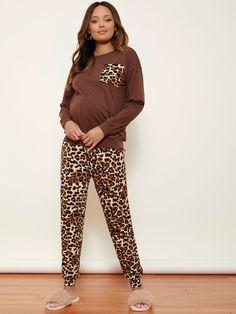 Maternity Drop Shoulder Pocket Patched Pullover With Leopard Jogger Pajama Set