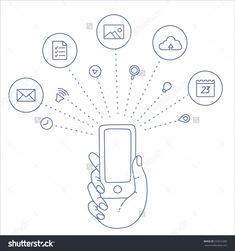 Cloud Service And Technology In Mobile Phone. Mobile Notification Of App In Smartphone. Line Icon Mobile App Of Cloud Technology. Vector Line Phone In Hand. Internet Surfing On Mobile Smartphone App - 333531692 : Shutterstock