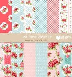 Kit Papel Digital floral vol 30