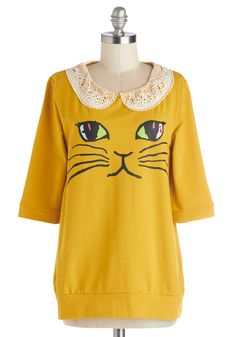 Cats What I Like About You Sweater. While your pals may say your friendly disposition and contagious positivity are your best traits, you believe that your sense of style takes the prize! #yellow #modcloth