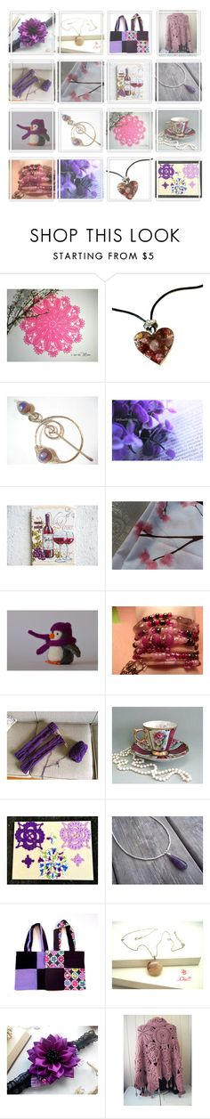 """Purple Flowers"" by oxysfinecrafts ❤ liked on Polyvore"