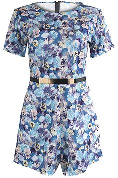 Love Blue Floral Cap Sleeve Playsuit with Belt- Women's Clothing- Love Online Fashion