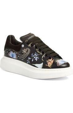 ALEXANDER MCQUEEN 'Night Obsession' Lace-Up Sneaker (Women). #alexandermcqueen #shoes #flats