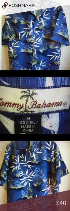 Tommy Bahama Men's Silk shirt size Medium Traditional Tommy Bahama Men's Silk camp shirt size Medium.  Barely worn. Excellent condition. No stains, rips or tears or missing buttons.  Great for that upcoming vacation Tommy Bahama Tops Button Down Shirts