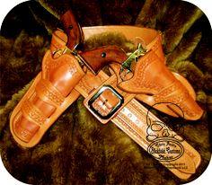"The maker's ""class rig"" from taking John Bianchi's class.  www.slickbald.com #holster #leather #SASS #slickbald #SAA #cowboy #shooting #CFDA"