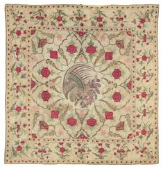 EMBROIDERED FLOOR SPREAD MUGHAL, 18TH CENTURY, FOR THE EUROPEAN MARKET 60 x 66ins. (144 x 158cms.) I Christie's