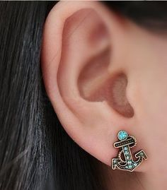 New Lovely Style Jewelry Blue Marine Anchor Fashion Earrings