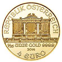 Mince o hmotnosti 1/25 Oz nese nominální hodnotu 4 Euro.