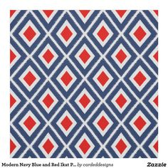 Modern Navy Blue and Red Ikat Pattern Fabric Ikat Pattern, Red Pattern, Pattern Design, Pattern Images, Bold Prints, Brown Beige, Accent Decor, Printing On Fabric, Sewing Projects