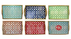 Decorate trays with your favorite fabric and set them around for pops of pattern and color! Perfect & interchangeable!
