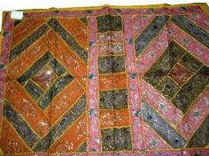 Vintage Sari Wall Hanging, Orange Pink Sequin Beaded Embroidered Indian Tapestry Throw 60x40 by Mogul Interior, http://www.amazon.com/dp/B00COEH9JU/ref=cm_sw_r_pi_dp_8YsIrb0KG0W8M
