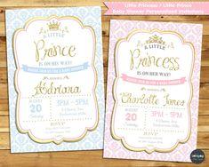 LITTLE PRINCESS PRINCE BABY SHOWER PERSONALISED INVITATION INVITE CARD GIRL BOY #CUSTOMINVITATION #BABYSHOWER