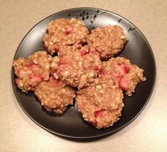 Strawberry banana oatmeal cookies: This was another wing-it recipe so adjust to your liking!! 6 medium bananas mashed, add in 2 cups old fashioned oats,1 T honey, 1/2 tsp cinnamon, 1 cup sliced strawberries.  Mix all together, drop spoonfuls onto cookie sheet and bake at 350 15-20 minutes