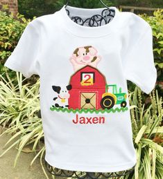 Boys Farm Yard And Tractor Birthday Number Onesie or Shirt