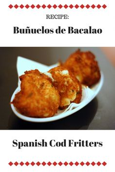 Bacalao, or salt cod, is something we see everywhere in Barcelona. Try this simple and traditional recipe for salt cod fritters, one of our favorite tapas! Tapas Recipes, Cod Recipes, Fish Recipes, Seafood Recipes, Vegetarian Recipes, Cooking Recipes, Recipies, Spanish Tapas, Spanish Food