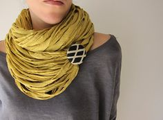 Yellow mustard multi-strand upcycled jersey fabric double necklace/scarf with black and white argyle pattern removable brooch