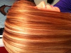 Red hair with blonde highlights!
