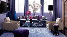 Jessica Stam's purple living room - Elle Decor Interior Exterior, Room Interior, Purple Rooms, Purple Walls, Purple Hues, Dark Purple, Purple Accents, Purple Zebra, Living Room Ideas
