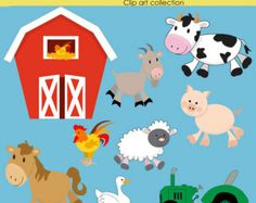 Clipart ,  Farm, INSTANT DOWNLOAD, Clip art , Barn Yard,   Animal,  Digital, scrapbooking and Paper Products, cow, rooster,  Sheep, Tractor,