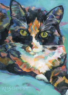 KMSchmidt 12x12 ART PRINT fauve impressionist TIGER wild signed print