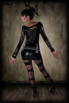Wet look black top Etsy listing at https://www.etsy.com/listing/178993657/dead-moon-v-cut-wetlook-dress-rock-glam