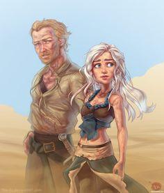 Дейнерис и Сир Джорах Мормонт на фоне пустыни - картинки, авы, аватары