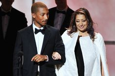 Pharrell Williams and Zaha Hadid (died 31.3.2016) attended the Glamour Women of the Year Awards in NYC.