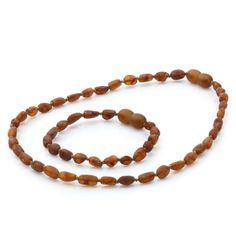 Raw Baltic Amber Teething Necklace & Bracelet Set. Olive Cognac Rough 5x4mm