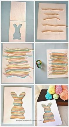 Manualidad de Pascua para niños: Silueta de conejito con lana. Podría utilizar cualquier forma no sólo conejitos - Easy Easter craft for toddlers: bunny silhouette yarn craft. easy yarn craft, could use any shape not just bunny