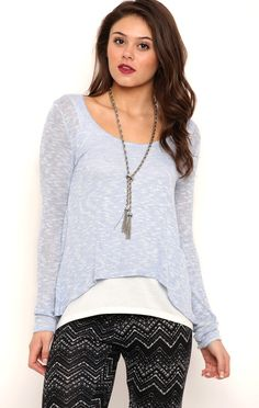 Deb Shops Long Sleeve Metallic Knit Top with Envelope Back $12.25