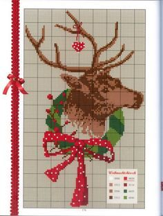 Free holiday deer cross stitch pattern