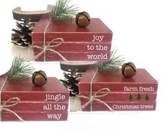Wooden books, Christmas book bundle, min… - Top Of The World Christmas Crafts For Adults, Christmas Wood Crafts, Farmhouse Christmas Decor, Christmas Books, Christmas Signs, Rustic Christmas, Christmas Projects, Holiday Crafts, Christmas Time