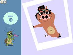 """Personnage reconstitué page puzzle """"Panique dans la savane"""" #Livreenfant #numériquejeunesse #cartoon #Auroredamant #ebooks #epub #kids #Livresjeunesse #jeunesse #iPad #enfants #livre-jeu #mix&match"""