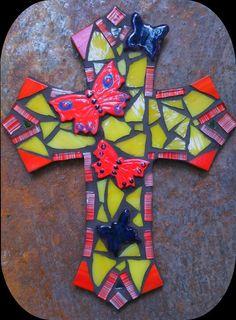 Mosaic cross Large by PrayingMantis MosaicMagik