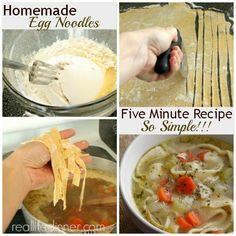 Five Minute Homemade Egg Noodle Recipe - perfect for homemade chicken noodle soup
