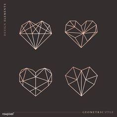 Diamond Logo, Diamond Heart, Learn To Tattoo, Paper Logo, Paper Collage Art, Logo Design Tutorial, Bullet Journal Books, Geometric Heart, Fancy Fonts