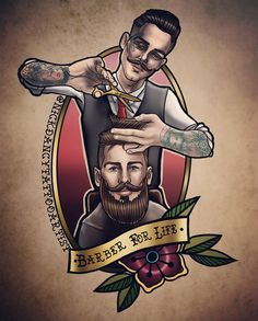 💥special offer💥 Neotraditional gentleman barber drew this a while ago really wanna do it! Must be colour must be a good size… Barber Poster, Barber Logo, Modern Barber Shop, Barber Shop Decor, Album Design, Old Shool, Barber Tattoo, Beard Barber, Barbershop Design