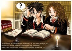 At the moment I trying to do some Book Illustrations. This one is from Harry Potter and the Goblet of fire,when Harry and Hermione are sitting in the li. Harry,Hermione in the library Harry Potter Hermione Granger, Harry Potter Quotes, Harry Potter Fan Art, Harmony Harry Potter, Harry Potter Artwork, Goblet Of Fire, Daniel Radcliffe, Dobby, Fantastic Beasts