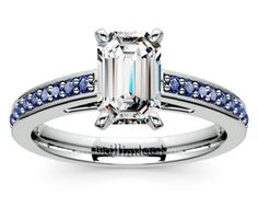 Cathedral Sapphire Gemstone Engagement Ring in White Gold | Thumb 03