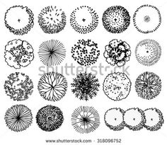 A set of Trees - top view. use in your landscape design.vector illustration