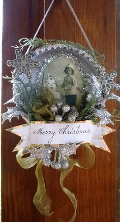 Vintage Snow Child Round Shadowbox Ornament by CloudNineAdornments Shabby Chic Christmas, Christmas Ornaments To Make, Noel Christmas, Victorian Christmas, Christmas Projects, Handmade Christmas, Holiday Crafts, Christmas Decorations, Christmas Mantles