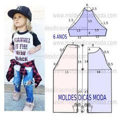 Para concluir o trabalho de forma perfeita faça uma analise detalhada da transformação do molde t-shirt de criança. Esta t-shirt é simples, veste de forma descontraída e elegante. As medidas correspon