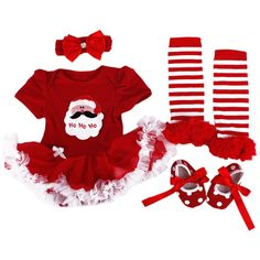 TANZKY® Baby-Girls Christmas Costume Infant Santa Princess TuTu Dress (4pcs)