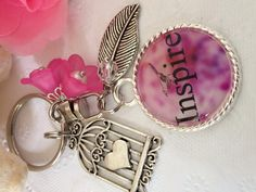 Inspirational Word - Inspire Pendant Keychain with Bird Cage Charm, Bag Dangle, A Gift for Her