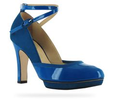 Repetto - Sandale Onora Bleu Paris Veau verni et Chèvre velours. Repetto heels are so easy to live in. I love them all.