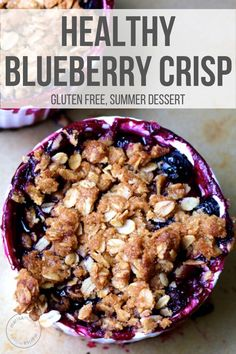 Healthy Blueberry Desserts, Healthy Blueberry Crisp, Healthy Sweets, Healthy Baking, Healthy Snacks, Healthy Breakfasts, Eating Healthy, Clean Eating, Amigurumi