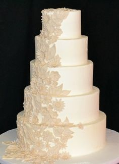 Flower Lace Wedding Cake - Click image to find more Weddings Pinterest pins