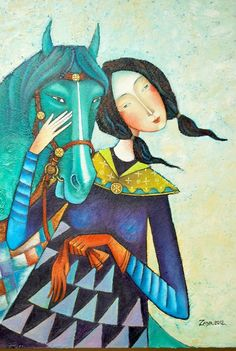 Girl with green horse ... this is first work of the year 2012 .oil canvas - Zayasaikhan Sambuu born in 1975 better known as Zaya
