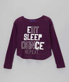 Look at this #zulilyfind! Eggplant 'Eat Sleep Dance' Hi-Low Tee - Girls by Purple Pixies Dance #zulilyfinds