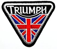 TRIUMPH MOTORCYCLES LOGO IRON ON EMBROIDERED PATCH UK FLAG TRIANGLE